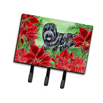 Black Russian Terrier Poinsettas Leash or Key Holder