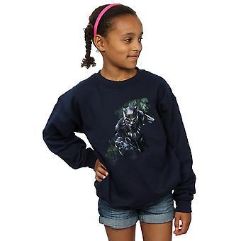 驚異の女の子黒豹野生シルエット スウェット シャツ