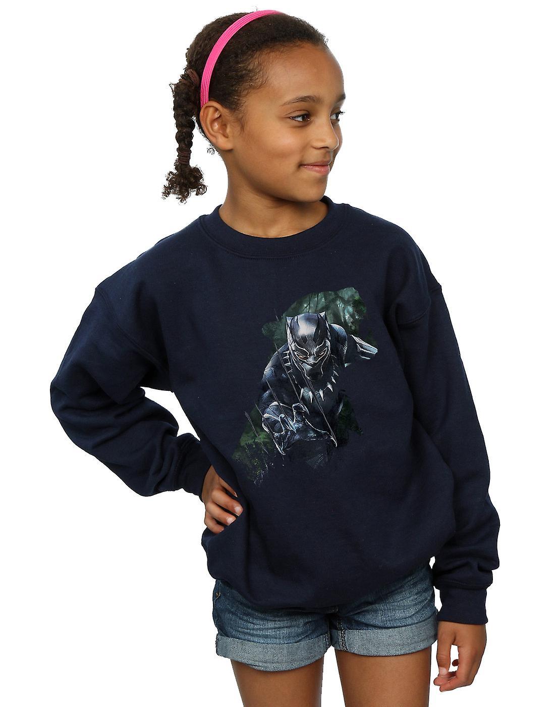 Merveille Girls noir panthère sauvage Silhouette Sweatshirt
