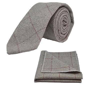 Platinum Grey Herringbone Tie & Pocket Square Set