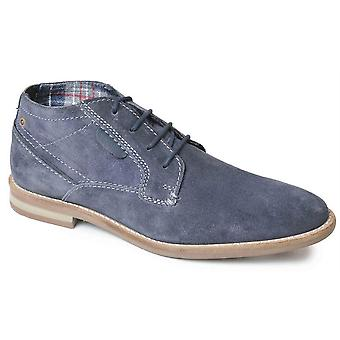Mens Leather Suede Lace Up Desert Smart Casual Ankle Boots Shoes