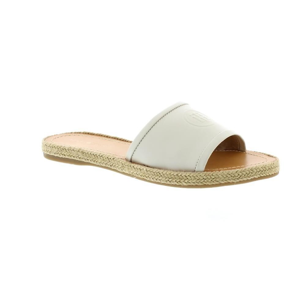 Tommy Hilfiger Leather Flat Mule - Whisper White (Cream) Womens Sandals