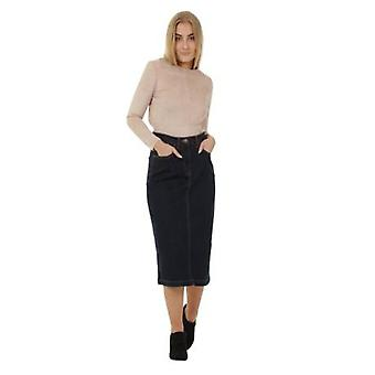 Calf-length Denim Skirt Denim Midi Skirt UK Sizes 8-22