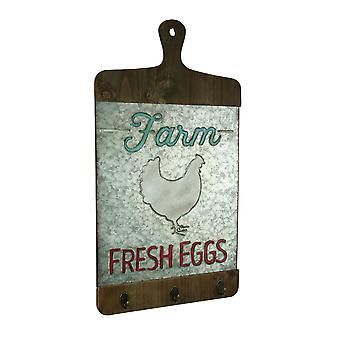 Galvanized Finish Farmhouse Chicken Cutting Board Wall Hook