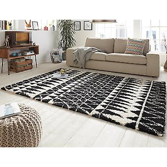 Design cut pile carpet deep pile inspire black