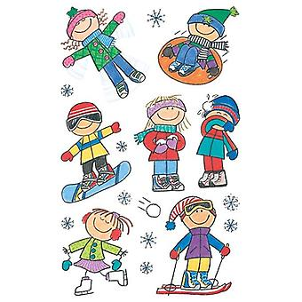 Mini Stickers 3/Pkg-Winter Kids
