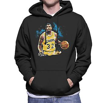 Sidney Maurer Original Portrait Of Magic Johnson Lakers Men's Hooded Sweatshirt