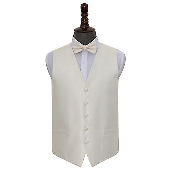 Ivory Solid Check Wedding Waistcoat & Bow Tie Set