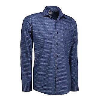 ID Mens Print Virginia Shirt Long Sleeve Slim Fit