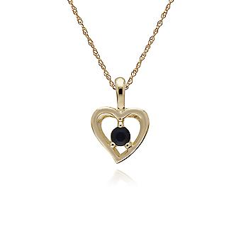 Gemondo 9ct Yellow Gold Sapphire Single Stone Heart Pendant on 45cm Chain