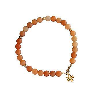 Gemshine - damer - armbånd - grønne Aventurine - Orange - gull belagt - 6 mm