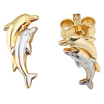 Dolphin part rhodium-plated earrings 333/-Delfine gold earrings gold earrings