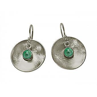 Ladies earrings 925 Silver shell emerald green 3 cm