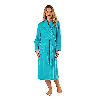 Slenderella HC2302 Women's Teal Blue Robe Long Sleeve Dressing Gown