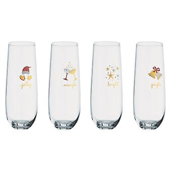 Artland Jolly and Bright Set of 4 Stemless Flutes