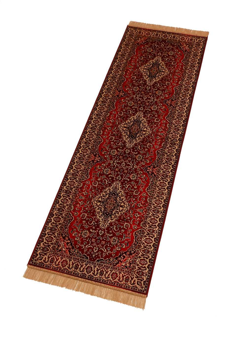 Red Persian Medallion Artsilk Faux Silk Effect Hall Runner Rugs 9099/12