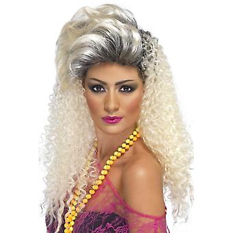 Long Blonde Frizzy Wig, 80's Crimp Wig, 1980's Fancy Dress
