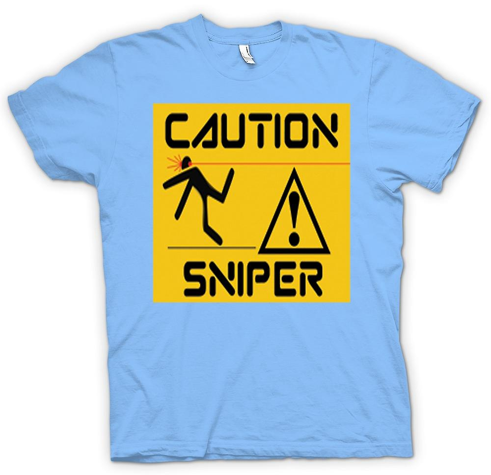 Hommes T-shirt - Attention - Sniper Warning Sign