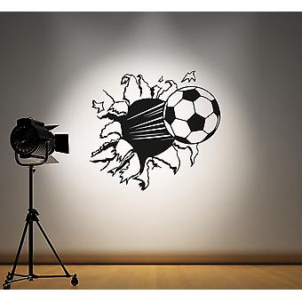 Football Bursting Through Wall Kids Wall Sticker