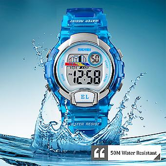 SKMEI Boys/Girls Blue Digital Watch Transparent Strap Watch 50m Water Resistant Stopwatch Perfect For Ages 5-13 DG1450BLU
