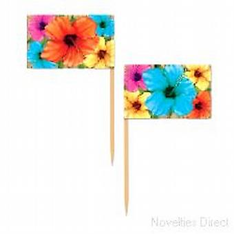 Hibiskus-Papier-Picks (50)