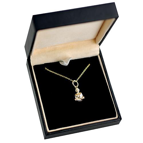 9ct Gold 12x8mm Half Lotus Yoga Position Pendant with a cable Chain 16 inches Only Suitable for Children