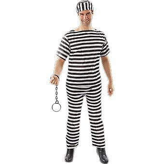 Mens Prison Black And White Stripe Convict Jail Uniform Fancy Dress Costume