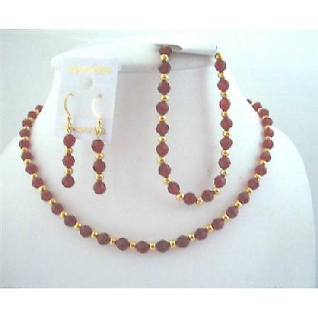 Round Swarovski Siam Red Crystals Bride Jewelry w/ 22k Gold Plated