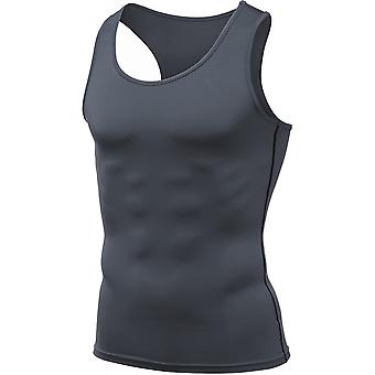 Tesla MUN04 Cool Dry Sleeveless Compression Muscle Tank Top - Charcoal/Black