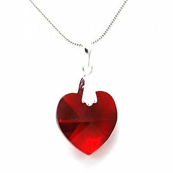 Toc Red Crystal Heart Pendant on 18 Inch Snake Chain