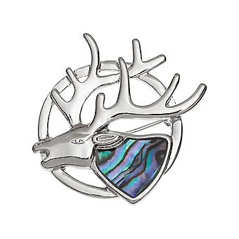 Eternal Collection Monarch Of The Glen Paua Shell Silver Tone Brooch (en)