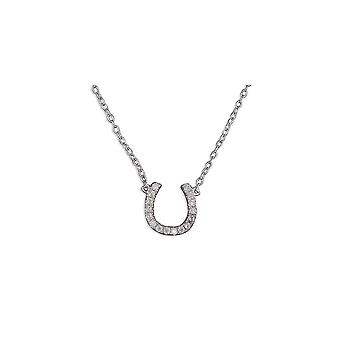 Eternity Sterling Silver Cubic Zirconia Horseshoe Pendant And 16/18