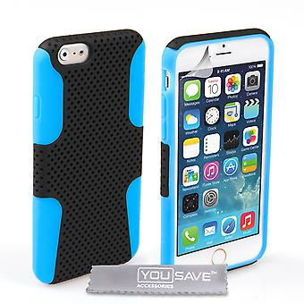 YouSave iPhone 6 and 6s Tough Mesh Combo Silicone Case BlueBlack