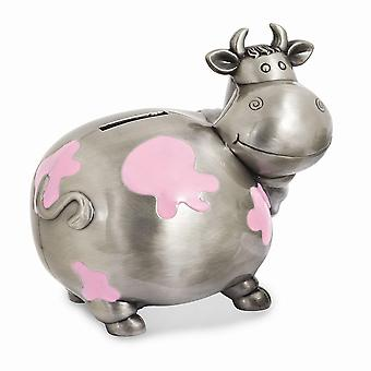 Pink Enameled Cow Metal Bank - Engravable Personalized Gift Item