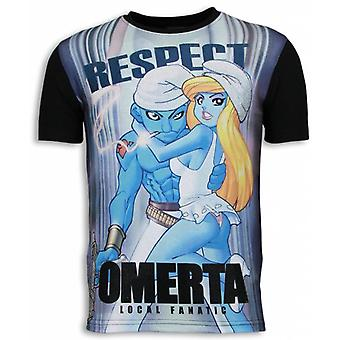 Respect Omerta-Digital Rhinestone T-shirt-Noir