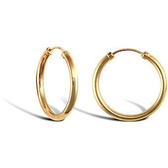 Jewelco London Ladies 9ct Yellow Gold Capped Sleeper 1.5mm Hoop Earrings 18mm