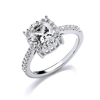 Jewelco London Ladies Rhodium Plated Silver white Round cubic zirconia Shoulder-Set Halo Solitaire Engagement Ring