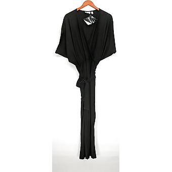 Attitudes by Renee Faux Wrap Stretch Knit Jumpsuit Black A290770
