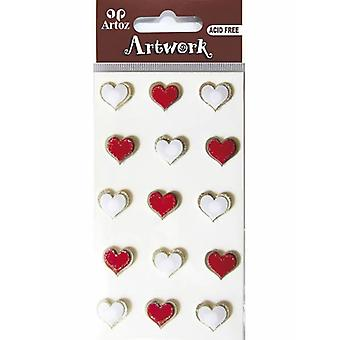 Red And White Hearts Craft Embellishment By Artoz