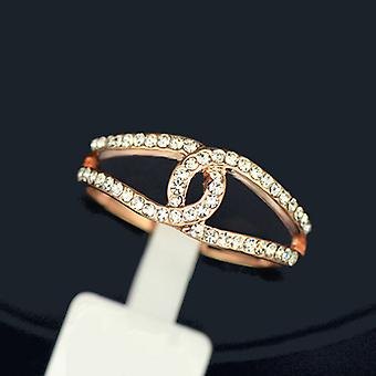18K Rose Gold Plated CC Ring