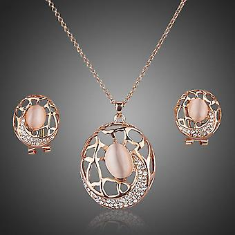 18K Rose Gold Plated Stellux Austrian Crystals Set