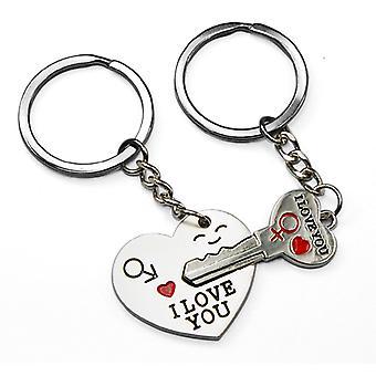 TRIXES pijl & ik hou van je hart belangrijke Valentijn Chain Ring Keyring schattig minnaar cadeau