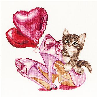 Valentine's Kitten On Aida Counted Cross Stitch Kit-12.25