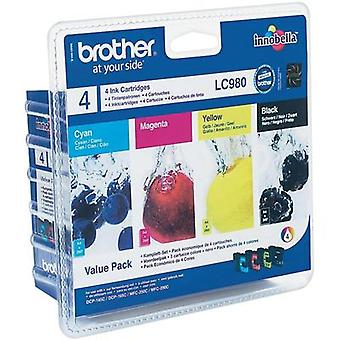 Brother Ink LC980BK + LC980C + LC980M + LC980Y Original Set Black, Cyan, Magenta, Yellow LC980VALBP