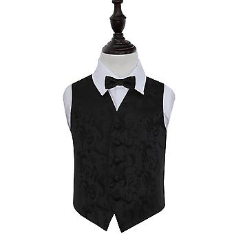Boy's Black Passion Floral Patterned Wedding Waistcoat & Bow Tie Set