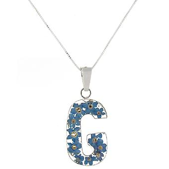 Shrieking Violet Sterling Silver Forget Me Not Flowers G Initial Pendant