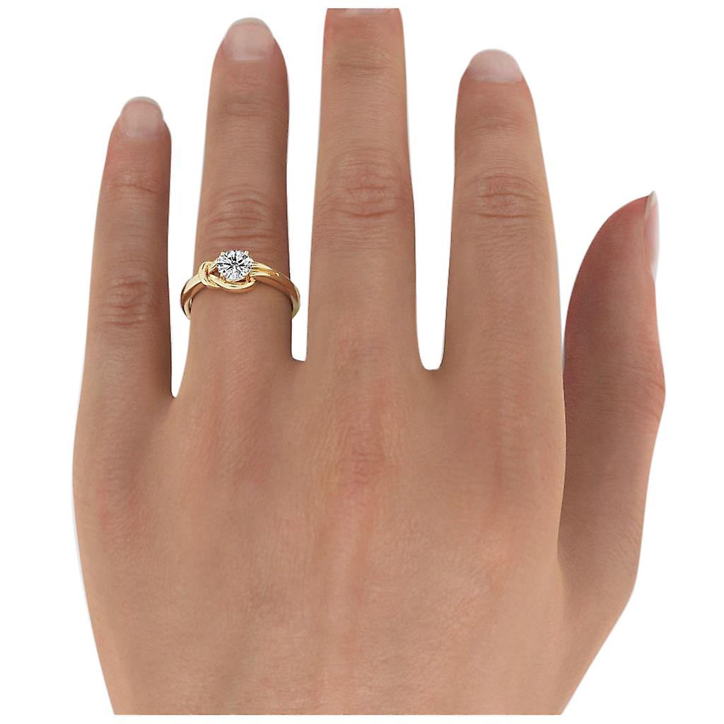 0.9 Carat D SI2 Diamond Engagement Ring 14K Yellow Gold Solitaire Knot Round