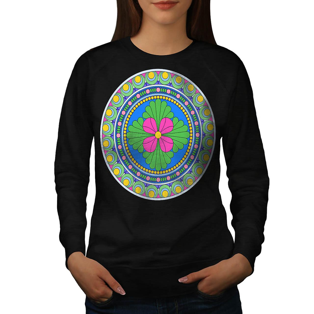 Style Indian Pattern Ornament Fun Women Black Sweatshirt | Wellcoda