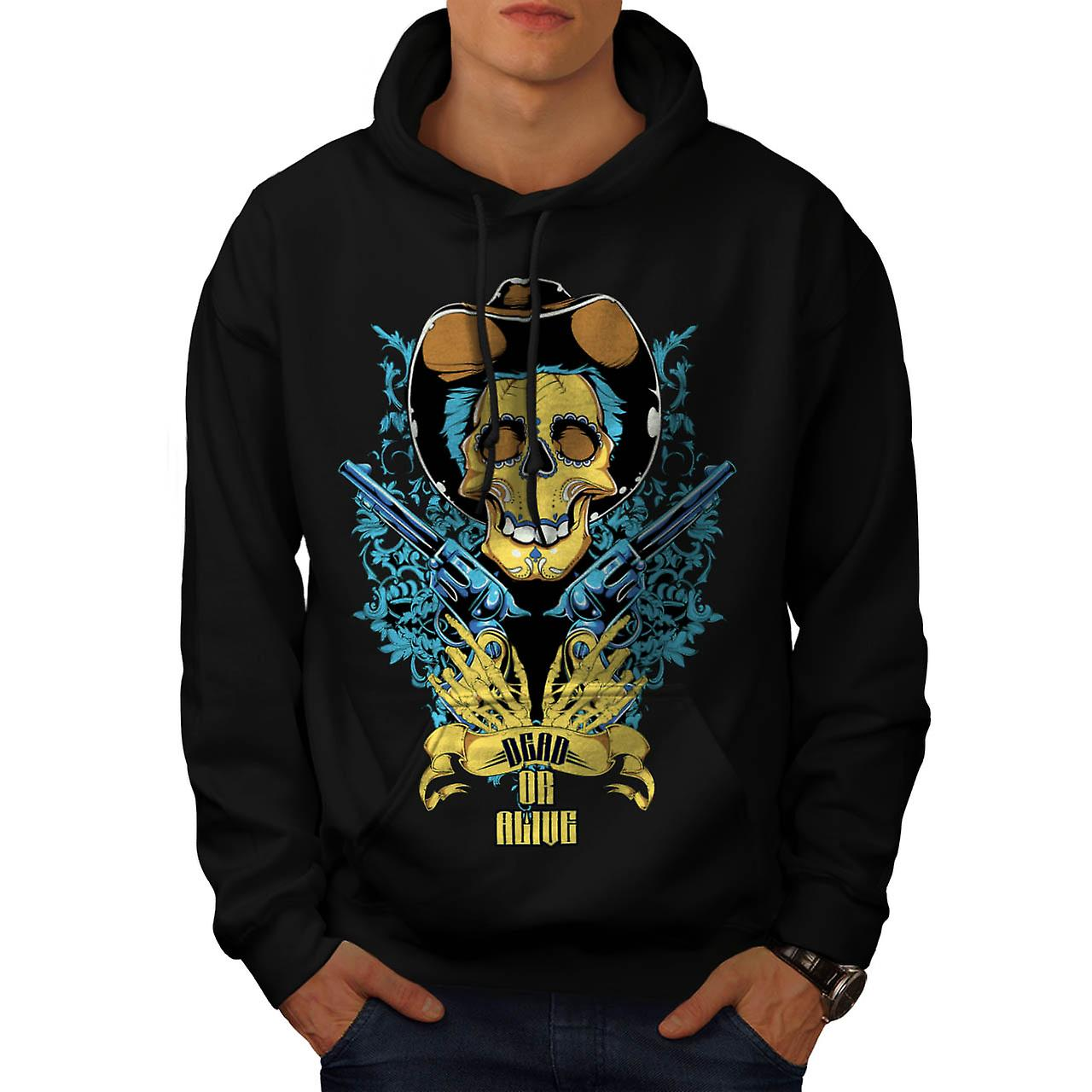Dead Or Alive Skull Cowboy Gun Men Black Hoodie | Wellcoda