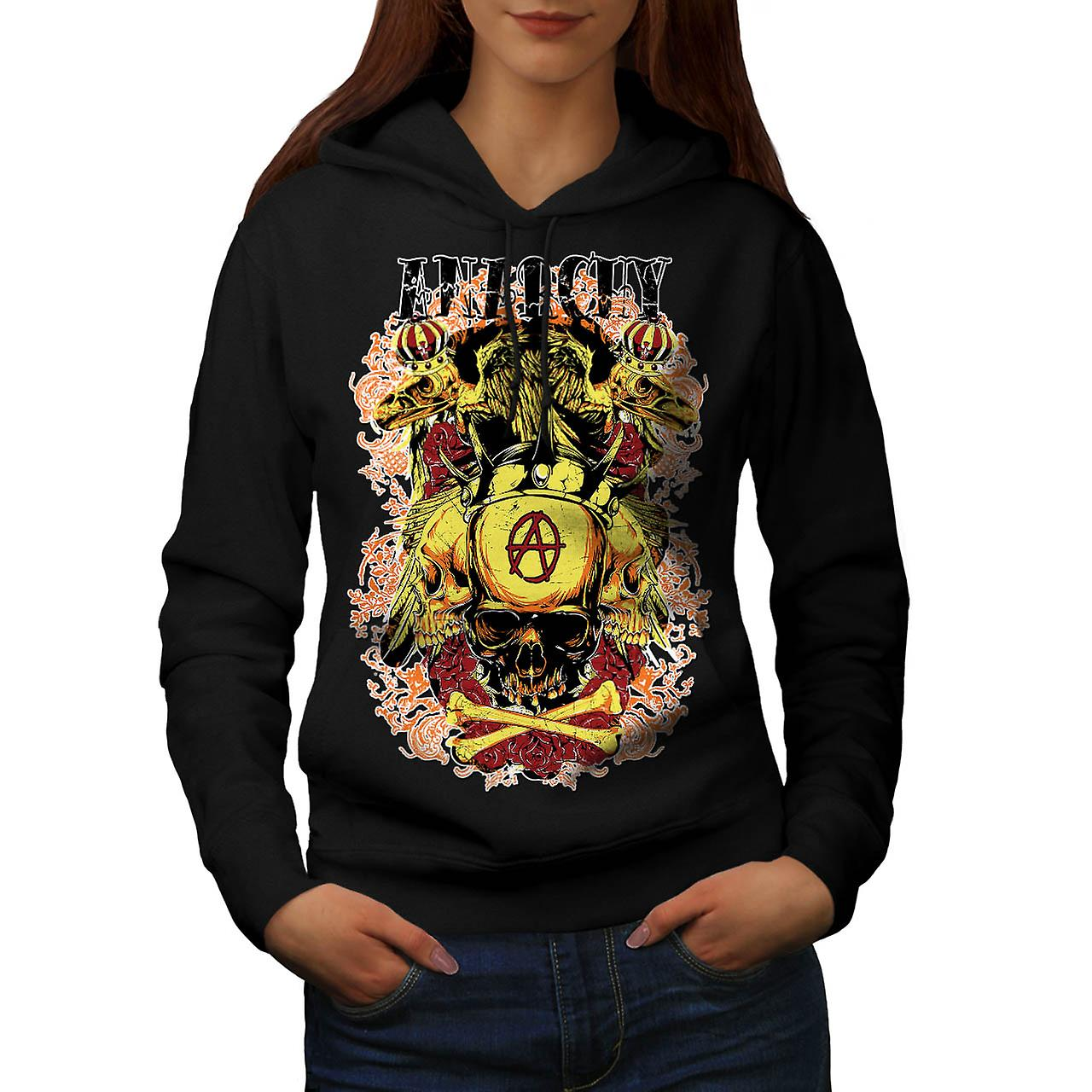 Anarchy Royal Skull Tattoo Head Women Black Hoodie | Wellcoda